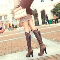 Fashion boots high thick heel boots elegant sexy lace high-leg back strap martin boots snow boots