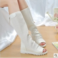 2013 summer popular open toe boots elevator women's cool boots tall boots high-leg boots