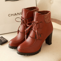 Hot-selling boots female 2013 fashion personality boots knitting material thick heel high-heeled ankle boots