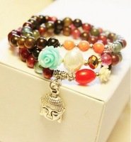 Free shipping  Fashion colorful beads small flowers pendant bracelets 10sets/lot