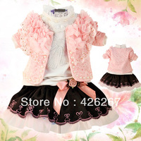2013 New arrival baby clothes set fashion girl pearl lace dress suit (coat+t-shirt+skirts) kid garment Free Shipping