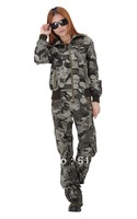 Wholesale Women's casual fashion coat two sets of camouflage suit Autumn (coat+pants)coat only S M L