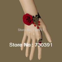 Free shipping New Fashion Noble Elegant Red Beads Cloth Rose Flower Lace Bracelet