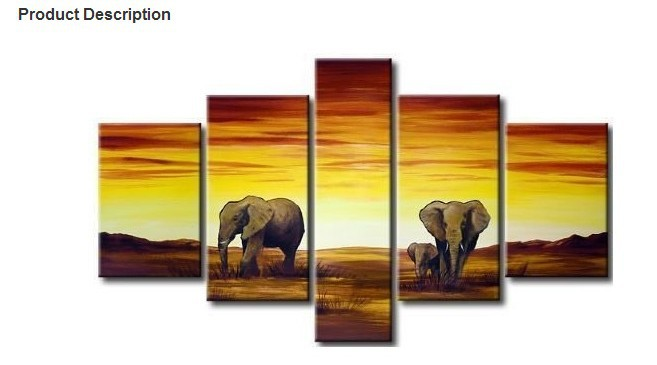 100 handmade discount elephant painting framed 5 panel canvas art modern sets wall decor - Promo code for home decorators set ...
