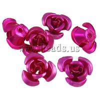 Free shipping!!!Aluminum Jewelry Beads,wedding jewellery, Flower, painting, fuchsia pink, 6x7x4mm, Hole:Approx 1mm, 950PCs/Bag