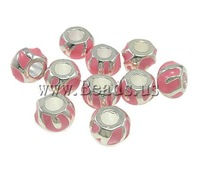 Free shipping!!!Zinc Alloy European Beads,2013 new fashion girl, Rond, without troll & enamel, pink, nickel