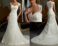 Vestidos de noiva  2015 New Arrival Fashion Beading Applique White / Ivory 2080 Organza Transparent Back Wedding Dresses OD20172