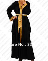 New arrival 2013 Double color stitching Ice silk muslim dress,abaya in dubai,islamic fashion abaya free shipping
