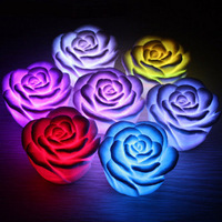 PVC Mini night light,Romantic lamp,colorful Rose  light,7 Color  change LED Lamp Rose Flower Room Decoration Small Night Light