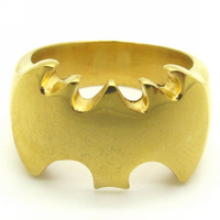 Min Order $ 20(mixed order)  Cool Batman Gold Charming Men's Stainless Steel Men's Finger Ring Punk Rock Jewelry
