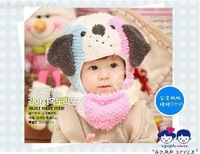 One Piece New Lovely Animal Pattern Child Boy Girl Hat Scarf Suits Three Colors Patchwork Infants' Beanies Winter Soft Headwear