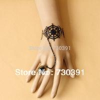 Free shipping New Fashion Punk Metal Bronze Black Scrub Crystal Cobweb Leather Bracelet