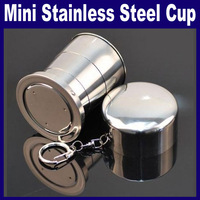 3 pcs/Lot_Stainless Steel Portable Mini Travel Retractable Cup Keychain