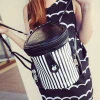 Stripe drum 2013 backpack new arrival women's handbag canvas bag backpack clamshell