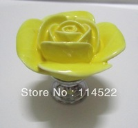 hand made ceramic yellow rose knob with silver chrome base flower knob cabinet pull kitchen cupboard knob kids drawer knob MG-16