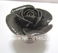 zinc alloy with hand made ceramic black rose knobs with gold edge cabinet pull jewellery hook knobs kids dresser knobs MG-16
