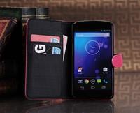 Vintage Designer Flip Wallet Card Slot Magnetic Thin Stand Leather Phone Cases Cover For Google Nexus 4 LG E960 Defender Holster