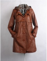 2013 New Women's Winter Warm coat Single Breasted Buttons Long Leather PU Hooded Fur Lining jacket Coffee ZQ10122015-1
