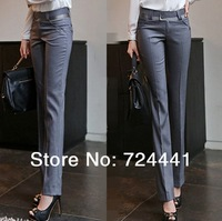 OL Plus Size Autumn Pants 2014 New fashion Women Mid Waist Career Pants Formal Slim Suit Pant Women Work Wear Straight Trousers
