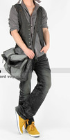 Man bag commercial messenger bag canvas bag shoulder bag patchwork preppy style leather casual bag