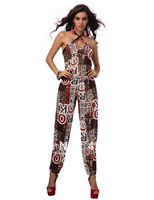 aolover women Sexy printed cross front  sleeveless jumpsuit 1446 red 9 colors romper costumes wholesale lingerie