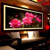 Ks cross stitch oil painting illusiveness red peony cross stitch