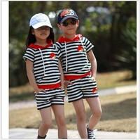 2014 summer children's short-sleeved cotton striped suit  children's clothing