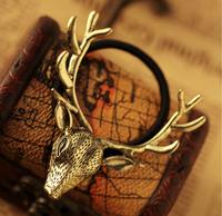 Free shipping,Min order 15$ (Mixed order) Fashion Vintage Exquisite Deer Elk Antler European Alloy Lucky Hair Ring Headwear