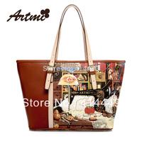 Artmi2013 new arrival hot item designer handbag autumn shoulder bag discount wholesale oil printing vintage retro free shipping