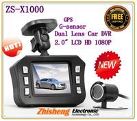 "2.0"" LCD HD 1080P Dual Lens Car DVR Camera Vehicle Video Recorder GPS G-sensor !Free Shipping !"