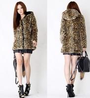Faux leopard print overcoat leopard print fur coat woolen outerwear fur coat