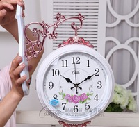 Fashion rustic carved double faced clock mute wall clock 2588