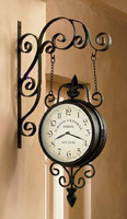 Fashion iron double faced bell wall clock wrought iron wall clock double faced clock black