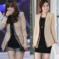free shipping Women's slim suit female medium-long blazer one button long-sleeve outerwear