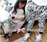 Free Shipping 2013 New Children Clothing Pants Baby Child Zebra-Stripe Harem Pants Girl's Fashion Troursers 5pcs/lot Wholesale