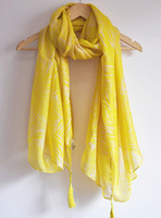 Summer thin section H brand leaves fringed scarves cotton oversized scarf shawl long scarf sunscreen