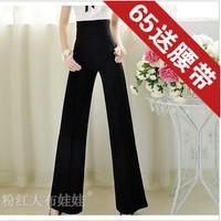 2013 summer women's black ol elegant high waist wide leg pants fashion trousers straight pants