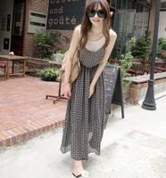 woman new cute faux two-piece sleeveless tank braces long dress free shipping A510-3-2362
