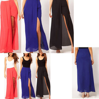 Fashion New Sexy Women Open Side Split Skirts Summer Retro Solid irregular Chiffon bust Long Maxi Skirt Boho S M L