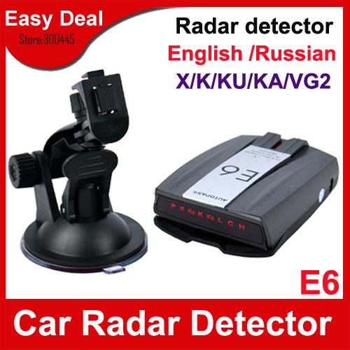 E6 Car Radar Detector With LCD Display Support Russina / English Voice Car Alarms For GPS Navigator Free Shipping(Hong Kong)