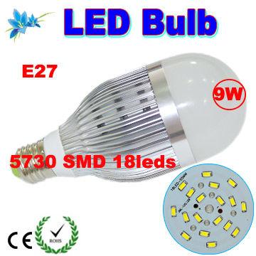 LED Lights Bulb E27 9W LED Bulb Aluminum Glass Lights lamp Indoor lighting 5730 SMD