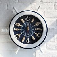 Free shipping Log handmade 45cm rudder clock muons wood rudder wall clock rudder decoration wall clock