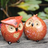 Free shipping Fine ceramics red glaze owl piggy bank decoration technology crafts