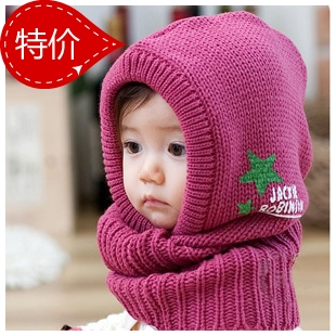 Yarn thermal ear child cap baby muffler scarf pirate hat scarf cape hat 034