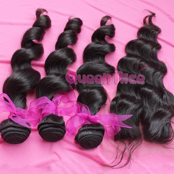 Loose curly Virgin hair, 1Pc lace top closure with 3Pcs hair bundle, 4pcs/lot, Brazilian virgin hair extension, free shipping