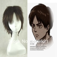 Free shipping High Quality Top 30cm Short straight Dark brown Eren Jaeger Cosplay  Wig Party+Free Wig Cap OS202A
