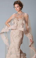 Wholesale - New Century Champagne Soft Net Beaded Applique Child Mermaid Wedding Shawl Lace Sexy Formal  Party Evening Dress
