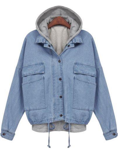 2014 New Spring/Winter Women's Clothing Jacket Work Wear Brand Name Fashion Blue Hooded Long Sleeve Drawstring Denim Outerwear(China (Mainland))