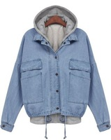 2014 New Spring/Winter Women's Clothing Jacket Work Wear Brand Name Fashion Blue Hooded Long Sleeve Drawstring Denim Outerwear