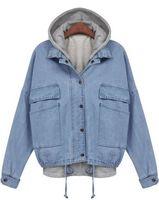 2015 New Spring Autumn Women Jacket Fashion Female Clothing Brand Desigual Blue Hooded Long Sleeve Drawstring Denim Coat